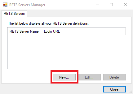 RETS Connector RETS Servers Manager dialog with New button marked in red