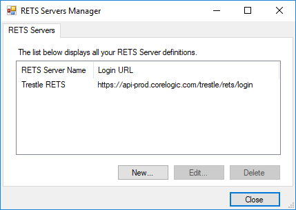 RETS Connector RETS Servers Manager dialog showing newly created server